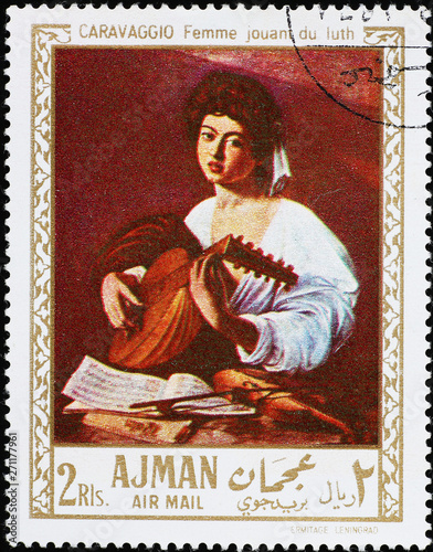 Fototapeta Young woman playing lute, painting by Caravaggio on stamp
