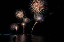 Colorful Fireworks Of Various Colors At Night With Celebration And Anniversary Concept
