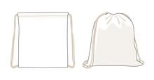 Blank Drawstring Bag, White Foldable Backpack, Cloth Bag, Vector Illustration Sketch Template