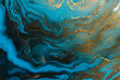 canvas print picture - Acrylic Fluid Art. Blue aquamarine waves and gold inclusion. Abstract marble background or texture