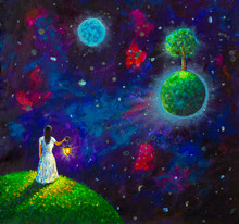 Painting Oil - Girl With Lantern In Space, Green Planet With Tree, Illustration For Fairy Tale, Fabulous Worlds - Modern Art Impressionism Abstract Landscape Acrylic Paint Artwork