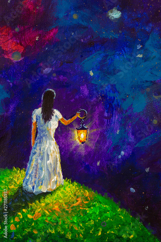 Painting oil - girl with lantern in space, green planet with tree, illustration for fairy tale, fabulous worlds - modern art impressionism abstract landscape acrylic paint artwork - 271185937