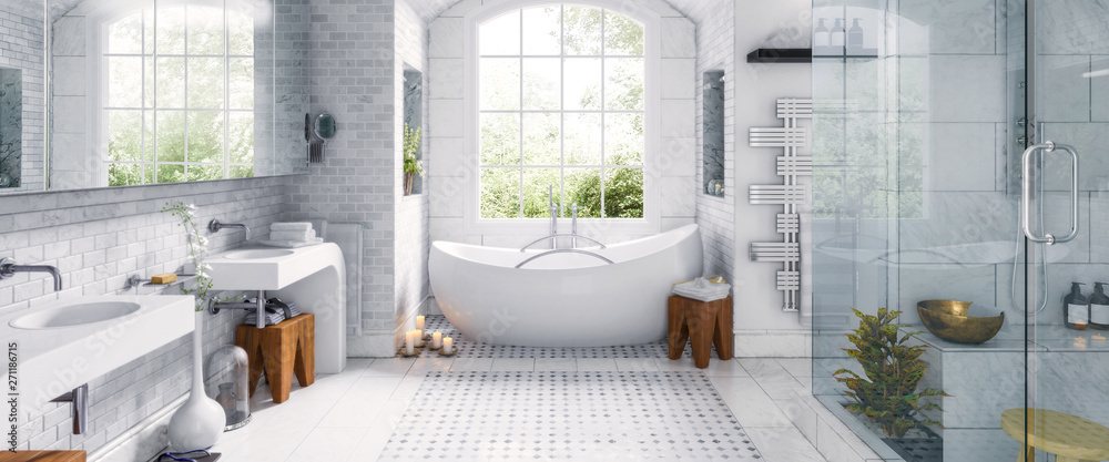 Fototapeta Renovation of an old building bathroom in a panoramic view - 3d visualization