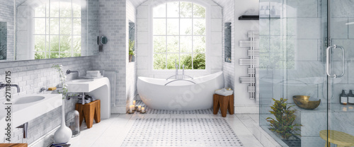 Renovation of an old building bathroom in a panoramic view - 3d visualization - 271186715