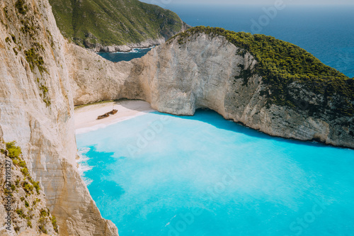 Poster Tropical beach Panoramic photo of Wreck ship beach Navagio. Zakynthos Island, Greece