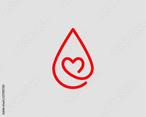 Stampa su Tela Red blood drop vector icon isolated on white background.