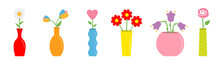 Flower In Vase Set. Cute Color...