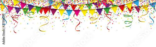 Obraz Carnival Confetti Ribbons Festoon Long Header - fototapety do salonu