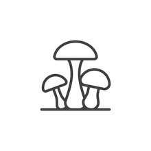 Three Mushrooms Line Icon. Linear Style Sign For Mobile Concept And Web Design. Mushroom Plant Outline Vector Icon. Symbol, Logo Illustration. Vector Graphics