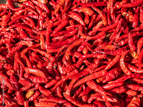 Photo  Red Chili Spicy cooking Food ingredient top view texture background