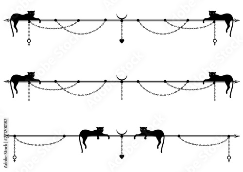 Fényképezés  set of vector divider with stylized cat or panther, chain and sign of Mars, Venu