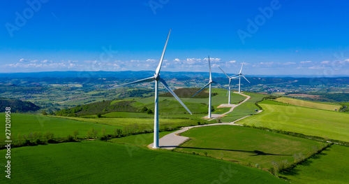 wind turbine, renewable energy- aerial view Canvas Print