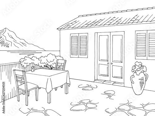 Foto op Canvas Drawn Street cafe Street cafe graphic black white landscape sketch illustration vector