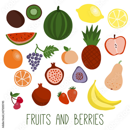 Fruits and berries flat icons Wall mural