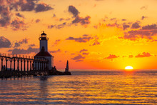 Dramatic Sunset At Michigan City East Pierhead Lighthouse