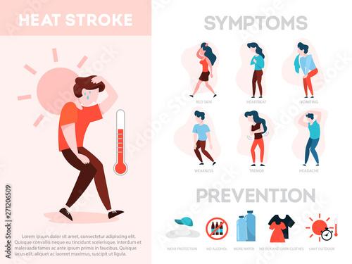 Fotografie, Obraz  Heat stroke symptoms and prevention infographic. Risk