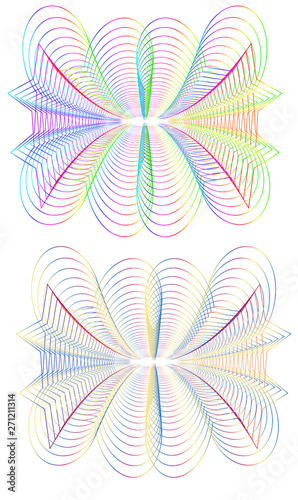 Poster Psychedelic Rainbow Guilloche Patterns