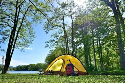Obraz na plátně 初夏・湖畔のキャンプ