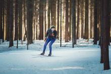 Cross-country Skiing Woman Doi...