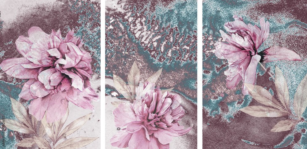 Fototapeta Collection of designer oil paintings. Decoration for the interior. Modern abstract art on canvas. A set of paintings with pink peonies on an abstract blue background