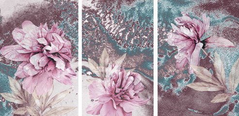 Fototapeta Peonie Collection of designer oil paintings. Decoration for the interior. Modern abstract art on canvas. A set of paintings with pink peonies on an abstract blue background