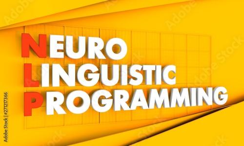 NLP - Neuro Linguistic Programming acronym on dark blue background Canvas Print