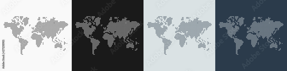 Fototapety, obrazy: Vector set of 4 maps of the World map made with round dots