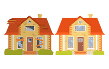 House Before And After Repair. Old Run-down Home. Renovation Building.Suburban Cottage.Isolated Vector Flat Cartoon.