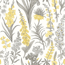 Lovely Garden. Vintage Seamless Pattern. Spring And Summer Garden Flowers. Yellow And Gray. Toile De Jouy.