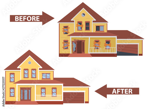 Fotomural House before and after repair