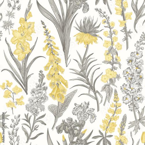 Tapety Retro  piekny-ogrod-vintage-wzor-wiosenne-i-letnie-kwiaty-ogrodowe-zolty-i-szary-toile-de-jouy