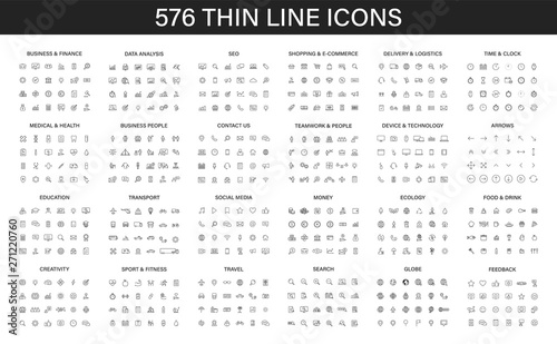 Big collection of 576 thin line icon. Web icons. Business, finance, seo, shopping, logistics, medical, health, people, teamwork, contact us, arrows, technology, social media, education, creativity. - 271220760