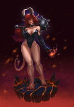 Succubus Sexy In Saber Carnival Box And Gloves Realistic Illustration Isolated. Demon Girl With Mace. Redhead Girl With Weapon On Burning Background