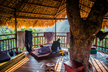 Sunrise In A Treehouse In The Forest Near Houayxai, Laos
