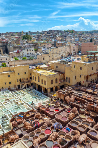 Fotografía  Aerial view of leather tanneries, Fez, Morocco