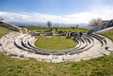 Pietrabbondante, Isernia, Molise, Italy - June 3 2019: Samnite Theater. Archaeological Area Of The Theater And Italic Temple Of Pietrabbondante.