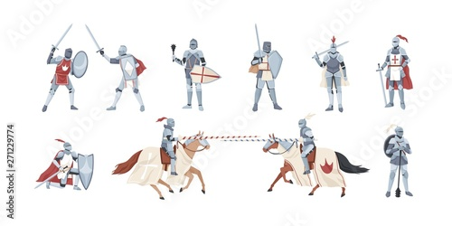 Vászonkép Collection of knights