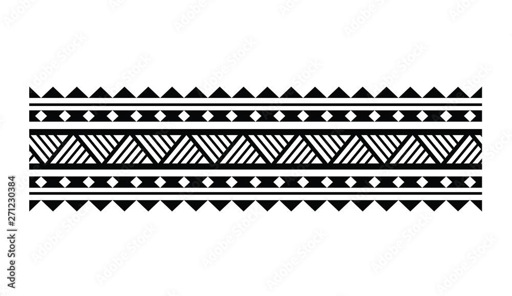 Fototapeta Tattoo tribal maori pattern bracelet, polynesian ornamental  border design seamless vector