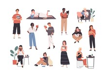 Collection Of People Reading Or Students Studying And Preparing For Examination. Set Of Book Lovers, Readers, Modern Literature Fans Isolated On White Background. Flat Cartoon Vector Illustration.