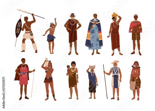 Cuadros en Lienzo Collection of aboriginal or indigenous people of Africa dressed in ethnic clothes isolated on white background