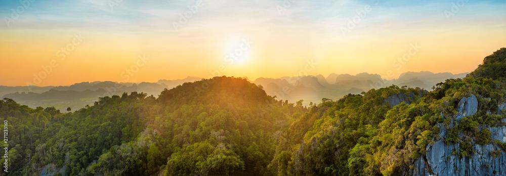 Fototapety, obrazy: Panorama of tropicall landscape with dramatic sunset and steep mountain ridge on horizon. Krabi, Thailand