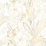 Tropikalna egzotyczna kwiecista złota linia palmy opuszcza i poślubnik kwitnie bezszwowego wzór, Biały tło. Tapeta egzotycznej dżungli. - 271233338