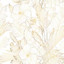 Tropical Exotic Floral Golden ...