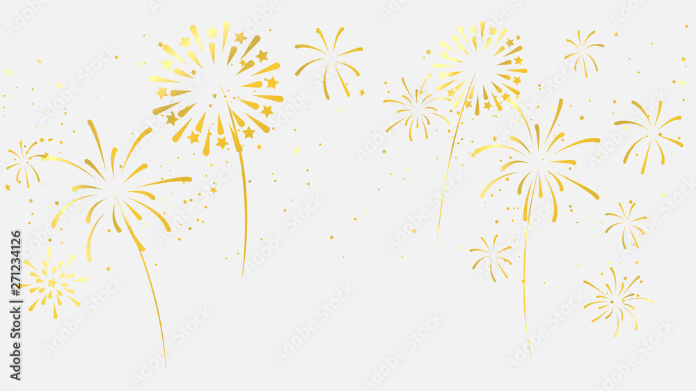 Fototapeta Celebration background template with fireworks gold ribbons. luxury greeting rich card.