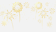 Celebration Background Template With Fireworks Gold Ribbons. Luxury Greeting Rich Card.