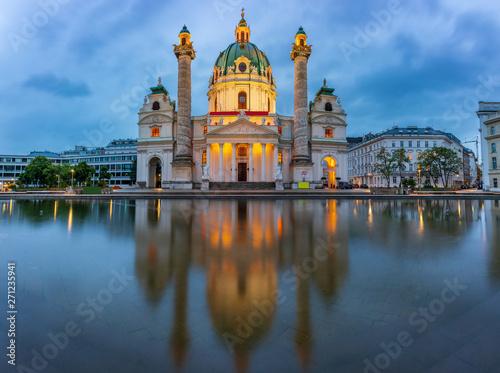 Garden Poster Vienna View to St. Charles' Church, Karlskirche, at night