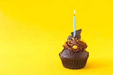 Tasty chocolate cupcake wit...