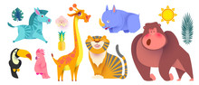 Cute Jungle Animals Set. Expti...