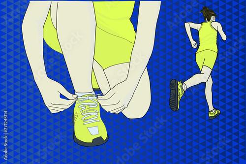 Illustration of woman running Wallpaper Mural