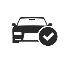 Automobile With Check Mark Icon Vector, Black And White Car Shape With Tick Pictogram Isolated Symbol Clipart